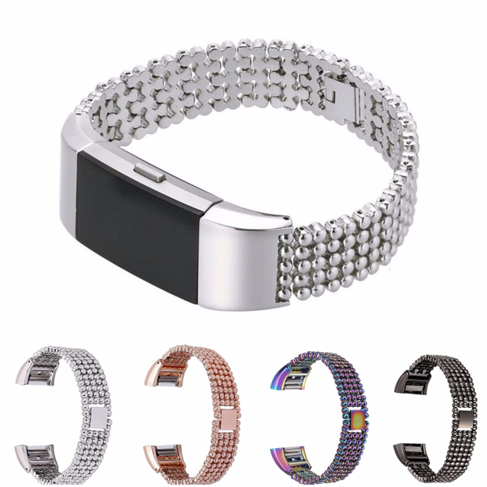 CRESTED Steel Bead Style Bracelet Watch Band Strap Bracelet For Fitbit Charge 2  Smart Watch Band Replacement crested stainless steel watch band for fitbit charge 2 bracelet smart watch strap for fitbit charge2 with connector