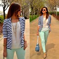 New Fashion Striped Slim Casual Business Blazer Suit Jacket Coat Outwear