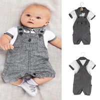 2pcs Newborn Infant Baby Boys Polo Shirt Overalls Bib Pants Outfits Clothes Set