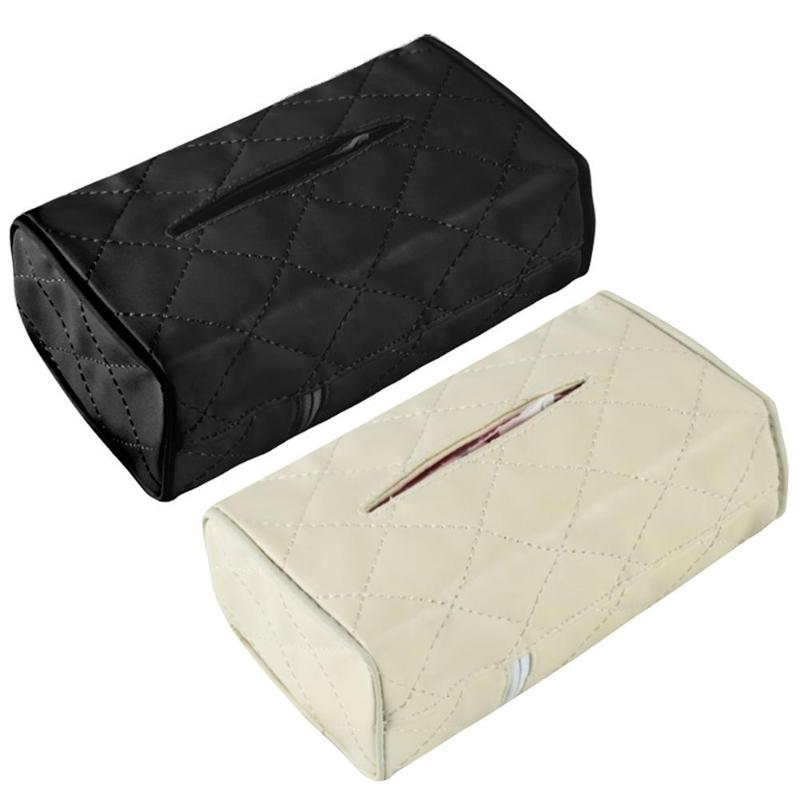 PU Leather Universal Car Armrest Seat Back Tissue Case Origanizer Car Tissue Box Multifunctional Napkin Papers Container Holder