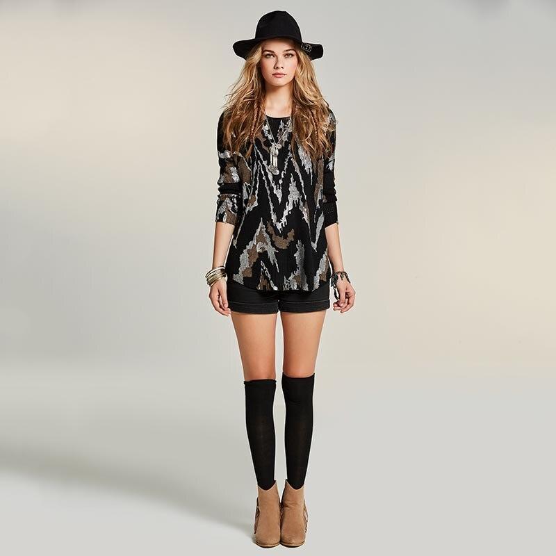 Sisjuly Women S Loose Sweater 2018 Autumn Geometric Patchwork Black Knitwear Apparel O Neck Pullover Ladies
