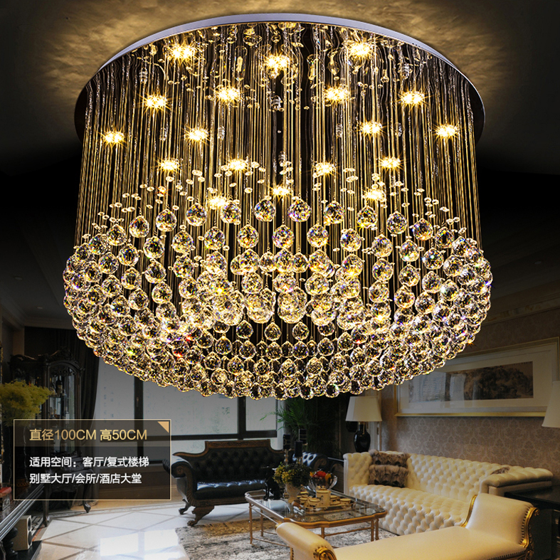 Crystal Chandeliers Modern LED Dimmable Chandelier Light Fixture 3 Light Colors Dimming Hanging Pendant Lamp Hotel Home Lighting