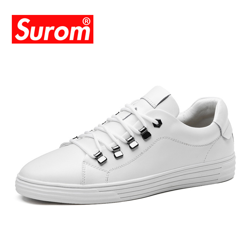 SUROM 2018 Spring Autumn New Sneakers Casual Shoes Men Brand Split Leather Lace Up Classics Mens White Shoes Breathable Krasovki men suede genuine leather boots men vintage ankle boot shoes lace up casual spring autumn mens shoes 2017 new fashion