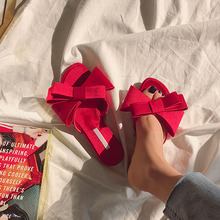 real silk butterfly-knot slippers woman fashion brand design mules shoes summer riband bow knot slides flip flops