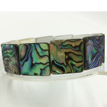 Free Shipping Beautful Jewelry New Zealand Blue Paua Abalone Square Bead Bracelet G5908(China)
