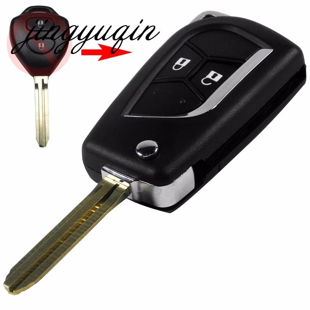 jingyuqin 2 Button Blank Modified Flip Folding Key Shell for Toyota Camry Hilux Prado Alarm Fob Case