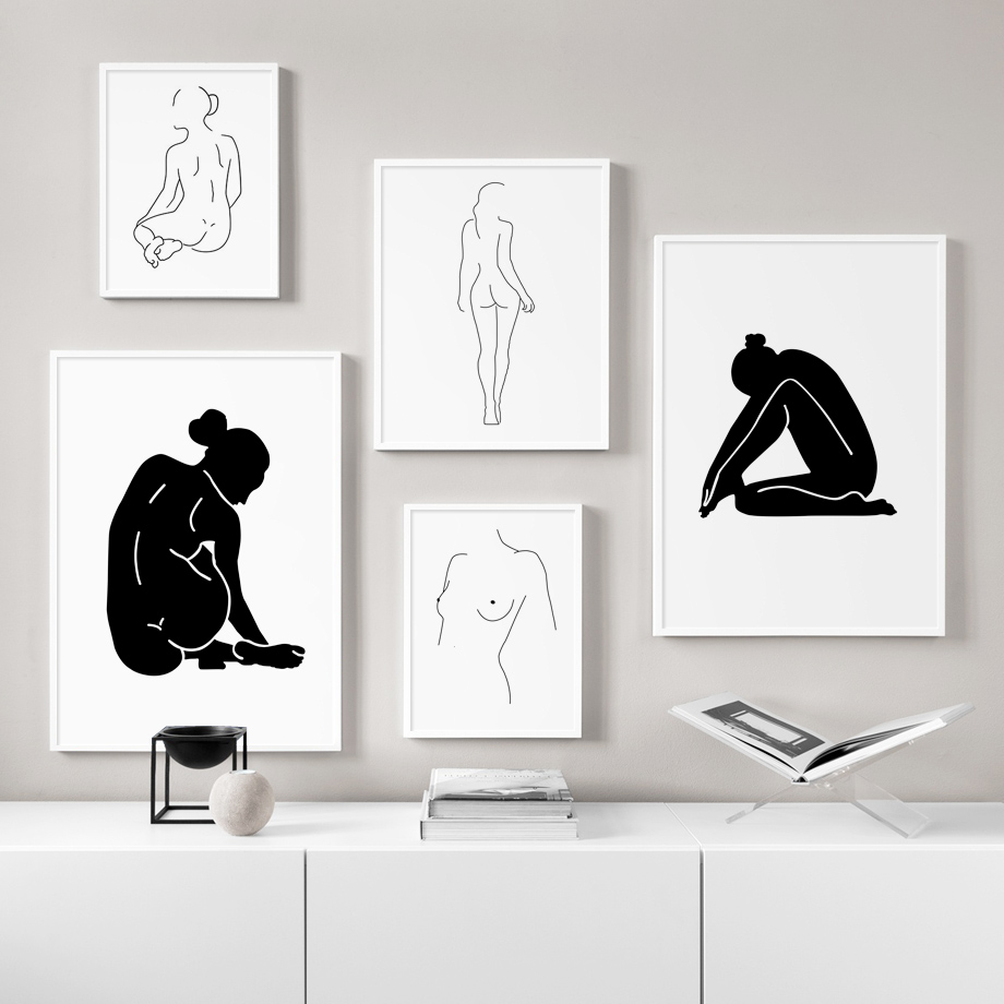 Abstract Nude Girl Body Art Line Wall Art Canvas Painting Nordic Posters And Prints Decoration Pictures For Living Room Decor in Painting Calligraphy from Home Garden
