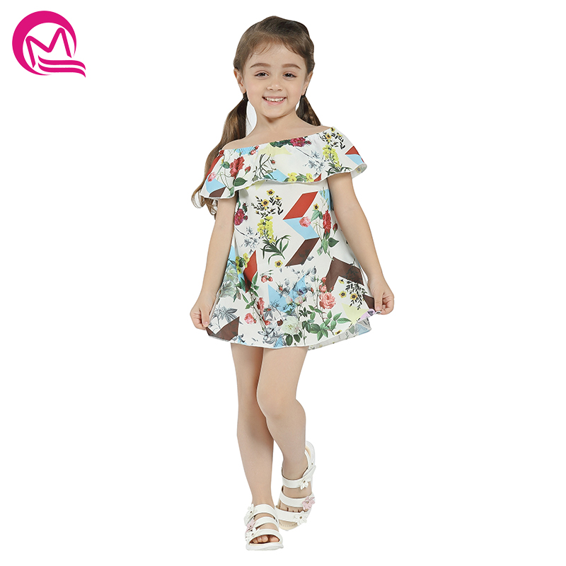 Girls Summer Dress MQ Cute Baby Girls Spring Clothes Casual Style Cotton 2018 New Arrival Print Mini Loose Dresses For Kids 2018 new fashion little girls summer floral dress print flowers loose casual party dress for gril cotton children kids clothes