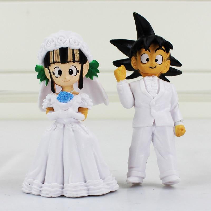 8cm Japan Anime Dragon Ball Goku ChiChi Wedding PVC Figure