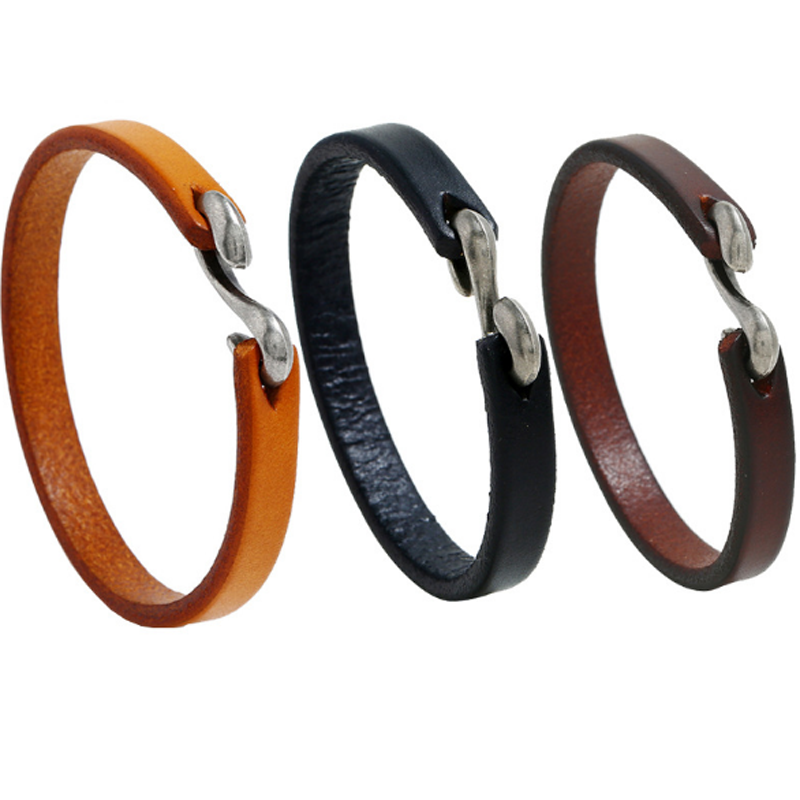 Simple Men Bracelet Vintage Leather Hook Bracelet Wristband Bangles for Male Christmas Gift Punk Party Jewelry Black Brown in Charm Bracelets from Jewelry Accessories
