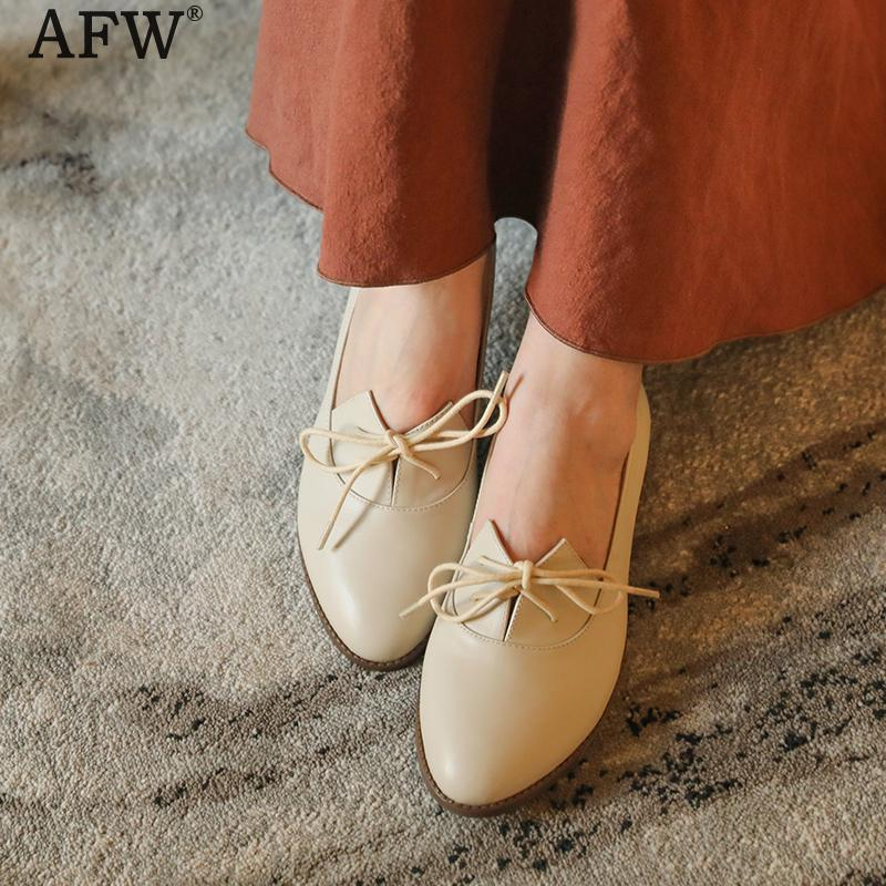 AFW Women Casual Leather White Shoes Low Heels Lace Up Genuine Leather Women Shoes Soft Leather Flats Handmade Retro Shoes 2018 tyawkiho genuine leather women sandals low heel white casual leather summer shoes 2018 handmade women leather sandal soft bottom