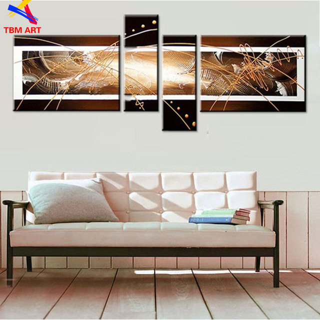 Coffee Color TBM ART Hand Painted Modern Abstract Oil Painting on Canvas Wall Art Gift for Home Decoration No Frame Z058