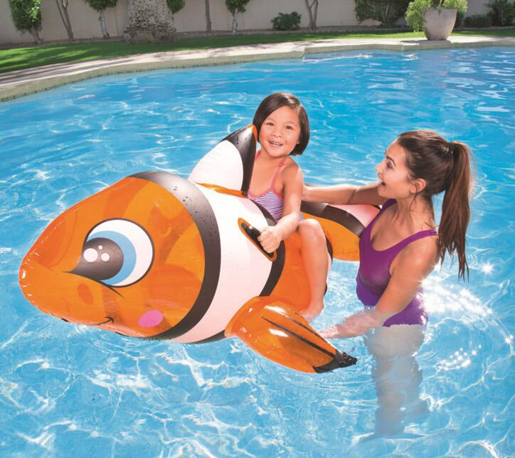 2019 Fashion Water Play Equipment Summer Sport 157x94cm Inflatable Cute Fish Pool Float Handle Animal Swimming Air Mat Kid Pool Toy Ride Gift Clients First Amusement Park Water Play Equipment