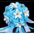 2014 Nova Flores Do Casamento Buquê de Noiva Buquê de Flores de Seda Rosa Artificial Buquê de Flores Da Dama de honra Do Casamento Decorativa FW160