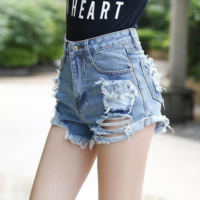 Cintura alta Shorts Jeans para mulheres Hot Sale alta Waisted curto femme Jeans rasgado com furos Shorts Plus Size S-XL curto feminino