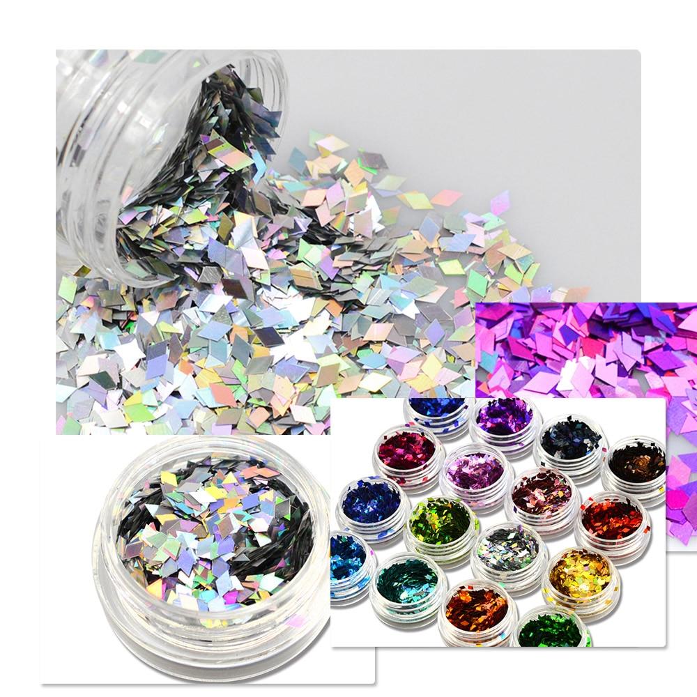1 Bottle Color Nail Glitter Shapes Sequins Thin Mini Rhombus Holographic Tips Nail Art Paillette Designs DIY 3D Decor LS01-16 fonksiyonlu rende