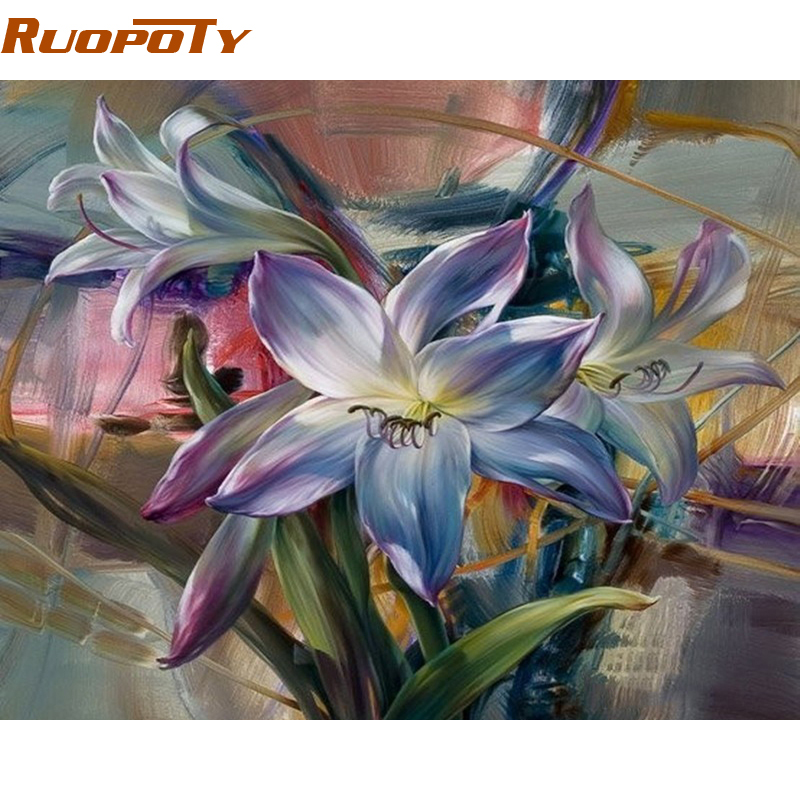 Purple Flower Oil Painting Abstract Wall Art Picture: Aliexpress.com : Buy RUOPOTY Frame Purple Flower DIY