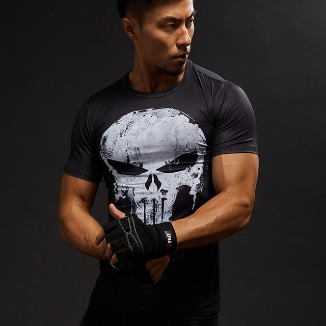 Superhero Punisher Skull 3D T-shirt Fitness Gym Clothing