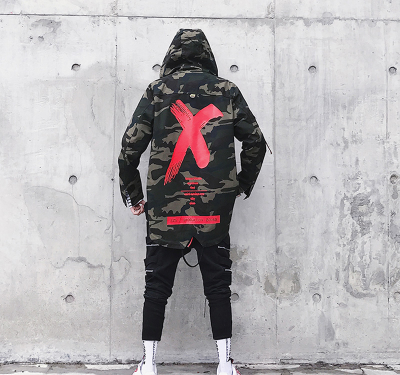 HTB1V4khKXmWBuNjSspdq6zugXXa6 Camouflage Jacket Men Coats High Street Ribbon Patchwork Cotton Men X Print Bomber Coat Autumn Harajuku Pilot Flight Jacket