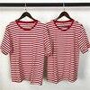 Kanye West Oversized Red Striped Short Sleeve T Shirt Men Hip Hop Streetwear Crossfit Camisetas Hombre