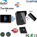 """Câmera gsm wi-fi sem fio intercomunicador do telefone da porta de vídeo campainha intercomunicador de vídeo de Alta definição 7 """"touch screen 3g sistema android/ios"""