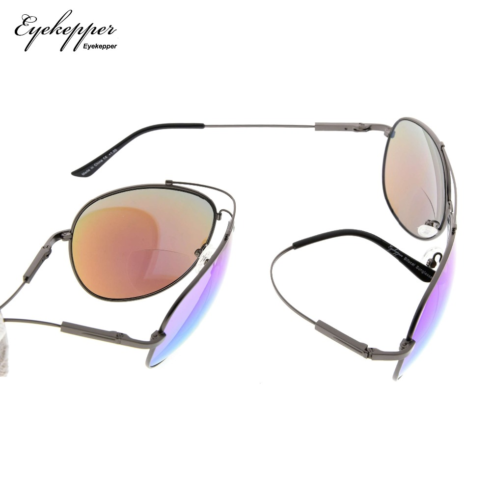 SG1802 Eyekepper Large Bifocal Sunglasses Polit Style Sun Readers With Bendable Memory Bridge and Arm