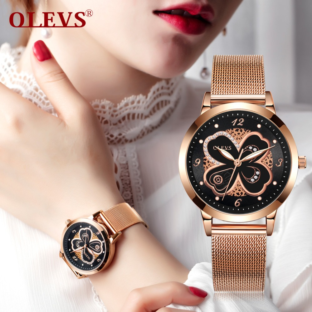 OLEVS Watches Women Fashion Rose Gold Ladies Watch Stainless Steel Luxury Exquisite Leather Women's Watches relogio feminino new 2016 new ladies fashion watches decorative grape no word design gold watch stainless steel women casual wrist watch fd0107