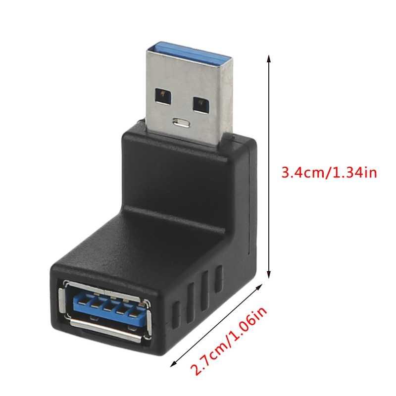 90 stopni w lewo prostopadły USB 3.0 A złącze męskie do żeńskiego adapter do laptopa PC #221