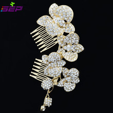 Orchid Flower Hair Comb Rhinestone Crystal Hairpins Bridal Wedding Haie Jewelry Accessories FA0323ESIL