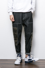Осень Камуфляж лоскутные мужчины прямые джинсы случайные личности старинные шаровары
