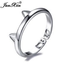 JUNXIN Cute Cat Ear Opening Rings For Women 925 Sterling Silver Filled Cat Paw Claw Resizable Ring Girls Daily Wearing Jewelry(China)