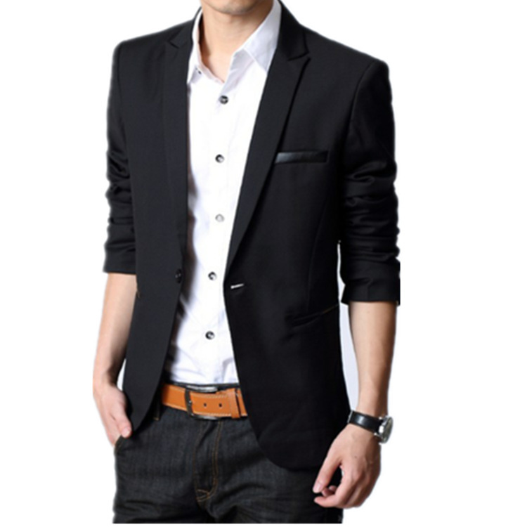 2017 Blazer Masculino Slim Dress Jackets For Men Black Suit Casual ...