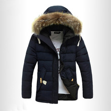 2017 Winter Men Hairy Hat  Solid Thickening Coat Men Hooded Cotton-padded Fashion Jacket Warm Parkas Plus Size Top Clothes z30