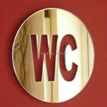 1 pcs WC door Sign Mirror Wall Stickers Self-adhesion Acrylic Sticker for Home Decoration 12x12cm(China)
