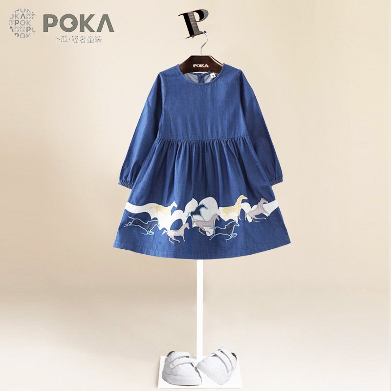 POKA's Spring Children Clothes Girls Long Sleeve Dress Brand Fashion Blue Denim Dresses for Girls Clothes with Galloping pattern