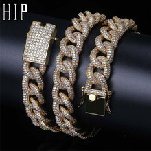 Bling AAA Cubic Iced Out Cuban Chain Micro Paved Zircon Miami Link Chain Necklace & Pendants for Men Hip Hop Jewelry