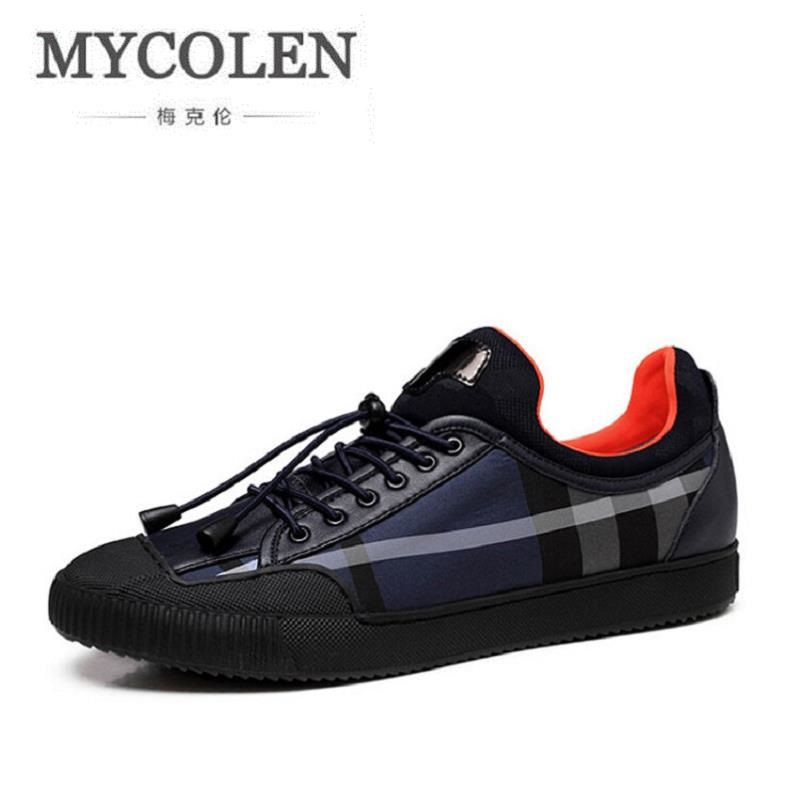 MYCOLEN Mens Casual Shoes Shoes For Men Fashion Flats Plaid Leather Brand Comfortable Autumn Shoes Men Zapatos De Hombre klywoo new white fasion shoes men casual shoes spring men driving shoes leather breathable comfortable lace up zapatos hombre