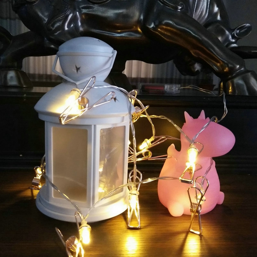 YINGTOUMAN 1.5m 10LED Iron Clip Lamp Battery Powered Lamp String Lights Christmas Holiday Party Decoration Light Garden Lamp