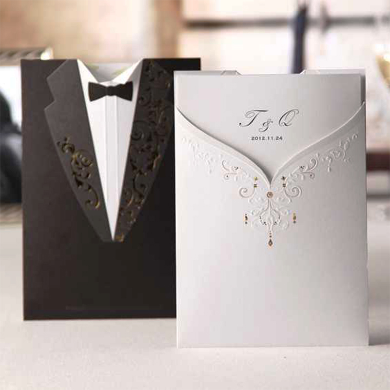 New Design Pocket Elegant Bride Groom Wedding Invitations Kit Flower Rose Blank Paper Print Invitation Card Set Free Printing square design white laser cut invitations kit blanl paper printing wedding invitation card set send envelope casamento convite