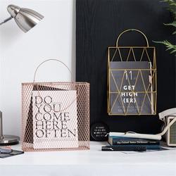 Mesh Metal Table Storage Basket with Handle Chic Nordic Scandinavian Rose Gold Desk Storage Basket Magazine Organizer Home Decor