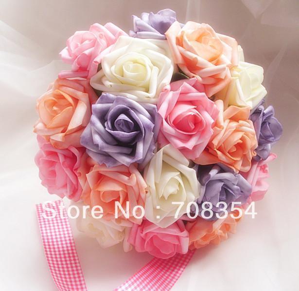 Shipping ~ 18 PE Imitado Rosas Brial Flor de la Mano/de La Boda Throw Bouquet/Fotografía Atrezzo/Flor de La Simulación 592