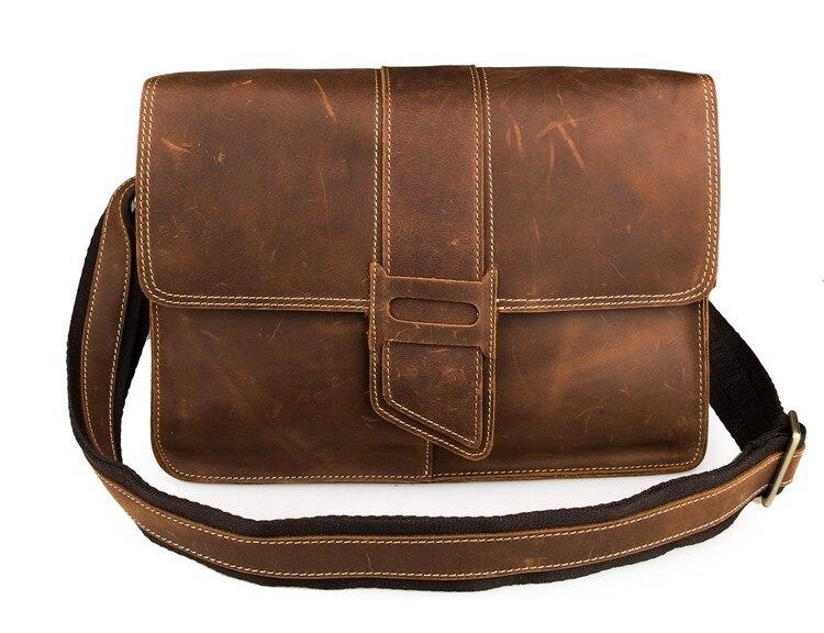JMD Men Messenger Bag Crazy Horse Leather Shoulder