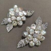 Натуральный пресноводный жемчуг брошь цветок контакты брошь 925 серебро с фианит Романтический барокко Женская Мода Jewel
