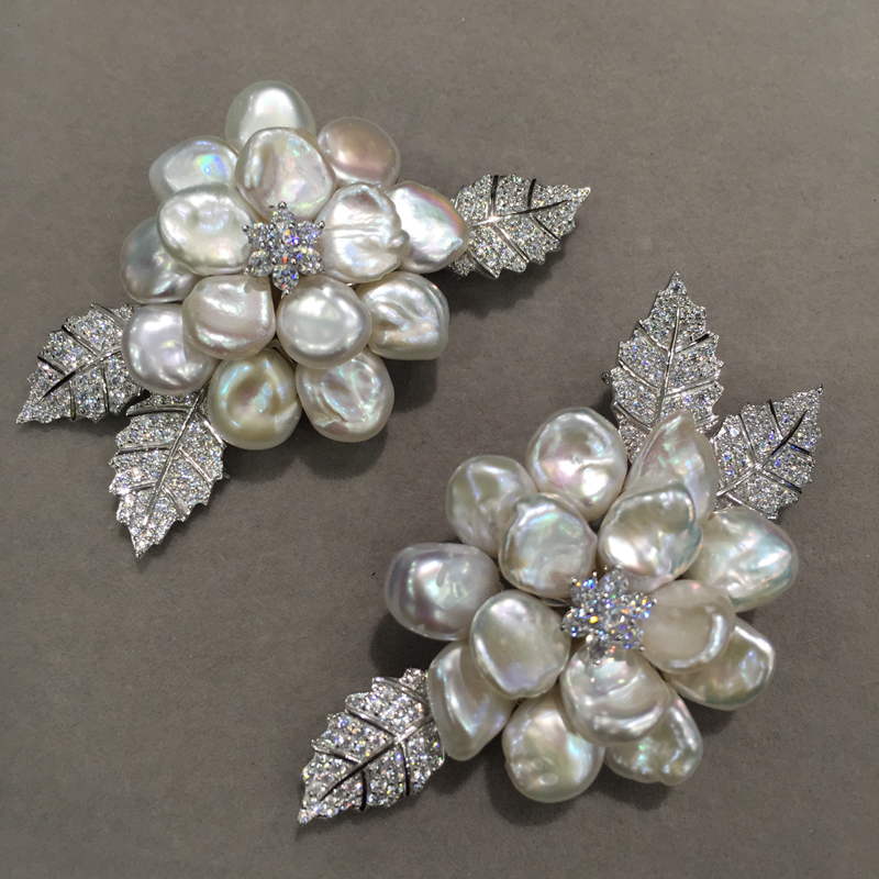 Natural fresh water pearl brooch flower brooch pins 925 sterling silver with cubic zircon Romantic Baroque fashion women jewel baroque natural fresh water pearl brooch pins copper with cubic zircon maple leaf brooch pins office career fashion women jewel
