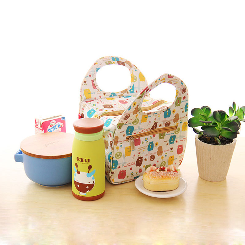 Japanese Style Cute Cartoon Waterproof Thermos Lunch Storage Bag Bento Box Kids (1 piece/lot) - June Home store