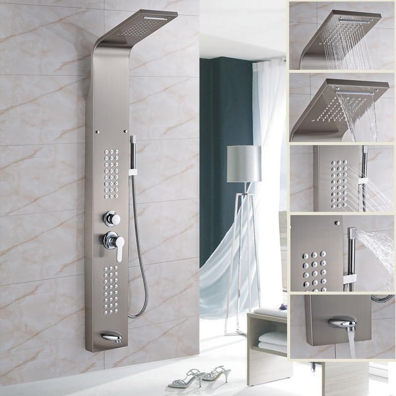 Factory Retail Brushed Nickel Shower Panel with Brass Hand Shower Tub Spout Shower Column брюки женские zarina цвет темно синий 8122204702047 размер 48