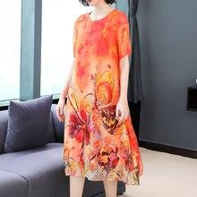 YICIYA Flowing Silk Dress for Women High Quality Plus Size XXXL Print Elegant Vintage Loose Party Dresses 2019 Summer Midi Robe