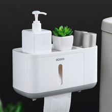 Toilet Paper Holder With Two Storage Waterproof For Bath Kitchen Roll Not Drilling Towel