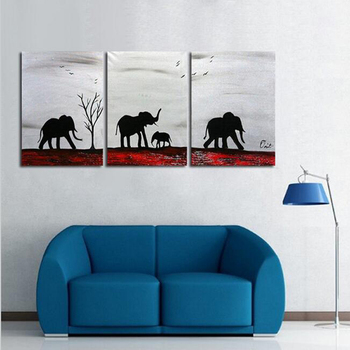Canvas Art 100% Hand Painted Abstract Oil Painting Africa Elephants Family 3 Panels Abstract Wall Art For Home Decor