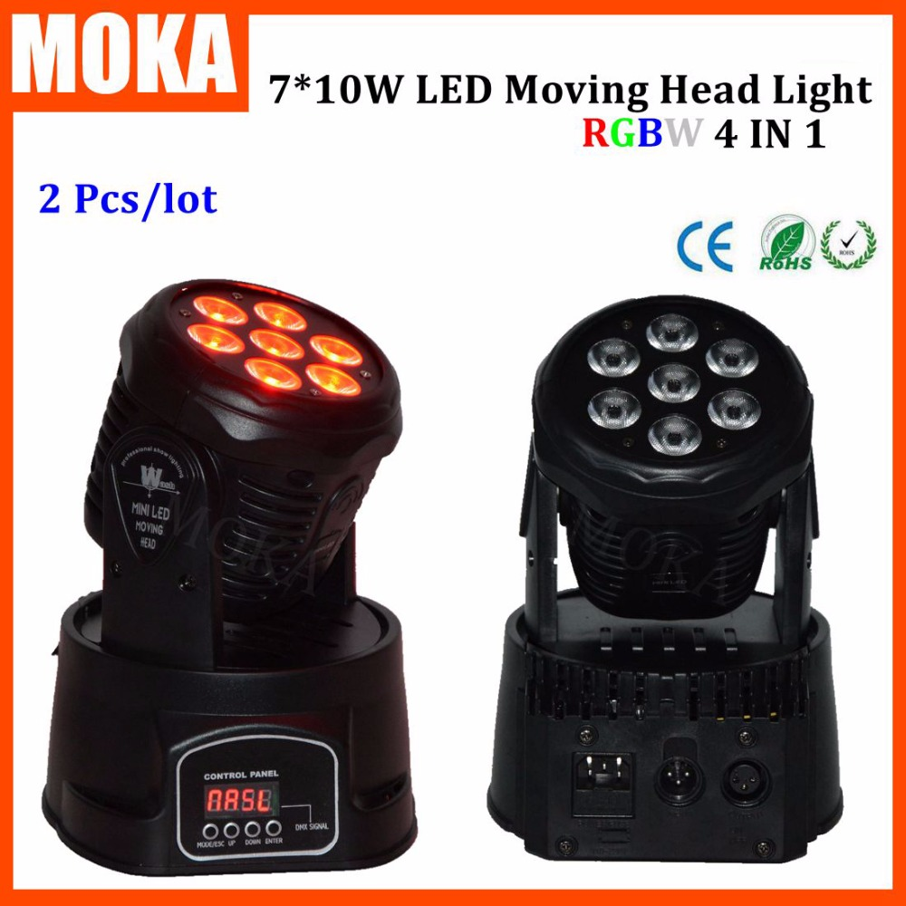 2PCS/LOT 4 in 1 Led Bar 7*10w Moving Head Light RGBW 7 Leds Disco Wash Nightclub Rainbow Effect Projector for Wedding Show